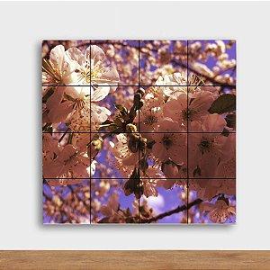 Painel Decorativo Sakuras fundo Lilás - Quadrado
