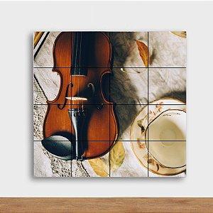 Painel Decorativo Violino e Chá - Quadrado