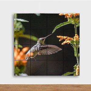 Painel Decorativo Beija Flor e Flores Laranjas - Quadrado
