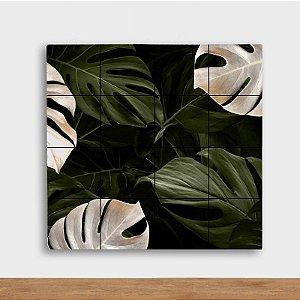 Painel Decorativo Costela de Adão Verde e Branco - Quadrado