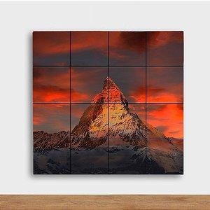 Painel Decorativo Montanha Pôr do Sol - Quadrado