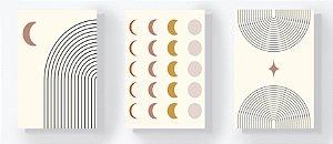 Trio Retangular Azulejos - Lua e Linhas