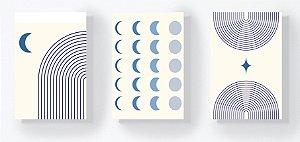 Trio Retangular Azulejos - Lua e Linhas Azul