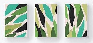 Trio Retangular Azulejos - Folhas Abstratas Verdes