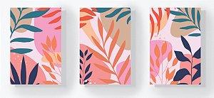 Trio Retangular Azulejos - Folhas e Formas