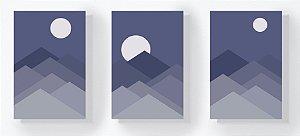 Trio Retangular Azulejos - Montannhas Azuis e Lua