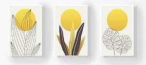 Trio Retangular Azulejos - Folhas e Sol