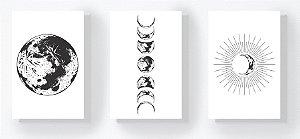 DUPLICADO - Trio Retangular Azulejos - Sol e Fases da Lua