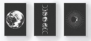 Trio Retangular Azulejos - Fases da Lua Preto