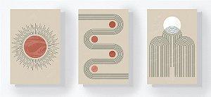 Trio Retangular Azulejos - Linhas e Planetas