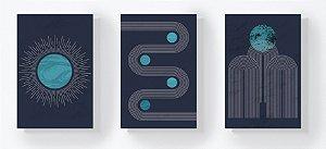 Trio Retangular Azulejos - Linhas e Planetas Azul