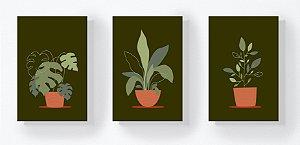 Trio Retangular Azulejos - Plantas no Vaso Escuro