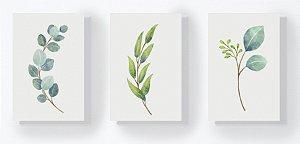 Trio Retangular Azulejos - Folhas Aquarela