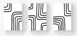 Trio Retangular Azulejos - Linhas Quadradas Branco