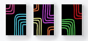 Trio Retangular Azulejos - Linhas Quadradas Preto e Colorido
