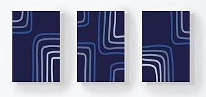 Trio Retangular Azulejos - Linhas Quadradas Azul Marinho