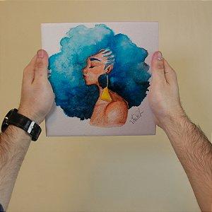 Azulejo Decorativo Moca Cabelo Azul