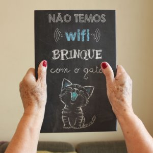 Azulejo Decorativo Não Temos Wi-Fi Gato