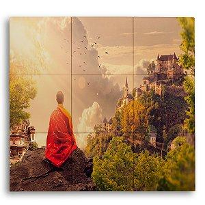 Painel com 9 Azulejos Monge Meditando