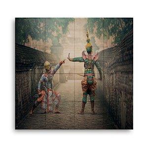 Painel Decorativo de Azulejo Oriental 80x80cm