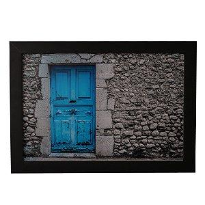 Quadro Decorativo Porta Azul Vintage