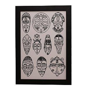 Quadro Decorativo Máscaras Indígenas