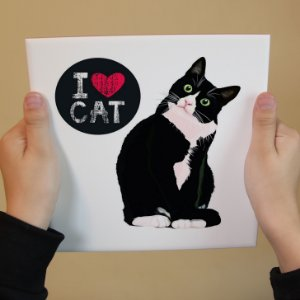 Azulejo Decorativo I ♥ Cat