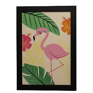Quadro Decorativo Flamingo Folhas