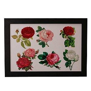 Quadro Decorativo Rosas Vintage