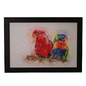 Quadro Decorativo Papagaios em Aquarela