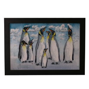 Quadro Decorativo Pinguins de Aquarela