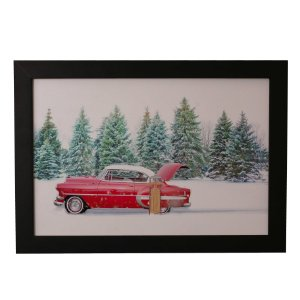 Quadro Decorativo Carro Vintage na Neve