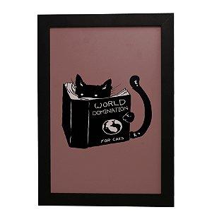 Quadro Decorativo Dominação Mundial Para Gatos