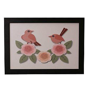 Quadro Decorativo Pássaros e Rosas