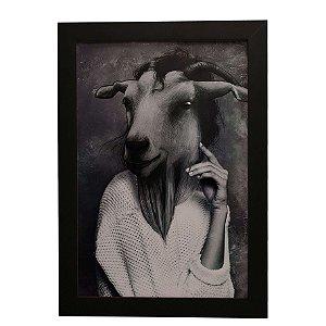 Quadro Decorativo Mulher Cabra