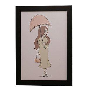 Quadro Decorativo Moça Guarda-Chuva