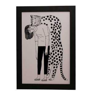 Quadro Decorativo Humana e Leopardo