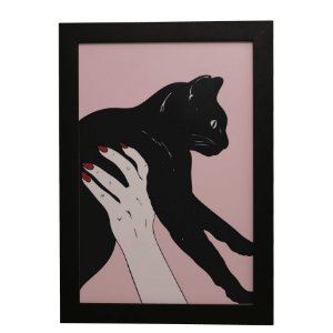 Quadro Decorativo Gato Preto Suspenso