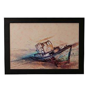 Quadro Decorativo Barco na Areia