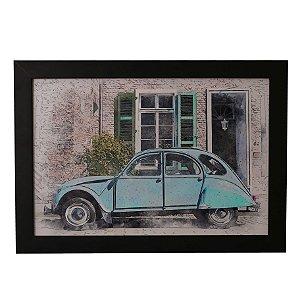 Quadro Decorativo Vintage Fusca Azul