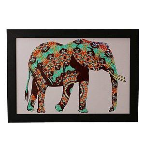 Quadro Decorativo Elefante Colorido