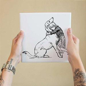 Azulejo Decorativo Garota e Cão