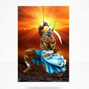 Painel Decorativo de Azulejo Ogum