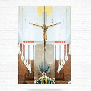 Painel Decorativo de Azulejo Fé Cristo na Cruz