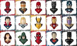 Pacote com 15 Azulejos Decorativos - Heróis Marvel e DC