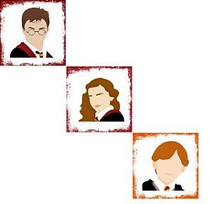 Pacote com 3 Azulejos Decorativos - Harry, Rony e Hermione