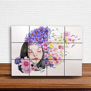 Painel Decorativo Garota Flores