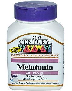 Melatonina 21st Century 3 mg 200 Tabletes
