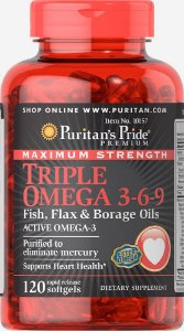 Triple Omega 3 6 9 3600 mg Puritan's Pride 120 Softgels