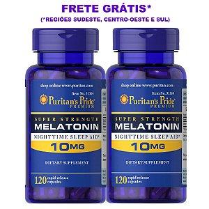 Combo 2 Frascos Melatonina Puritan's Pride 10 mg  Total 240 Cápsulas - Frete Grátis*